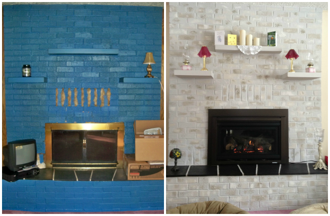Previously BLUE Brick Painted Fireplace