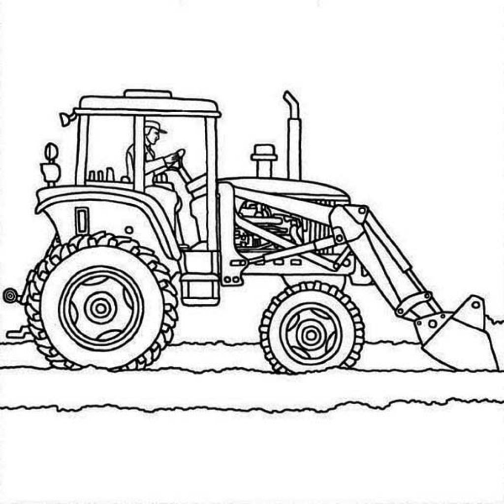 Coloring pictures of cars truck tractors - Tractor Plows Coloring Page Online Printable