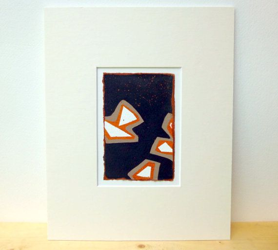 Burnt Orange Taupe and Black Miniature by wheatleypaperworks, $45.00