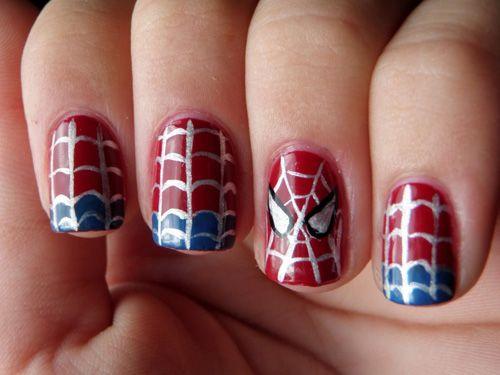 Cute Spiderman Acrylic Nails