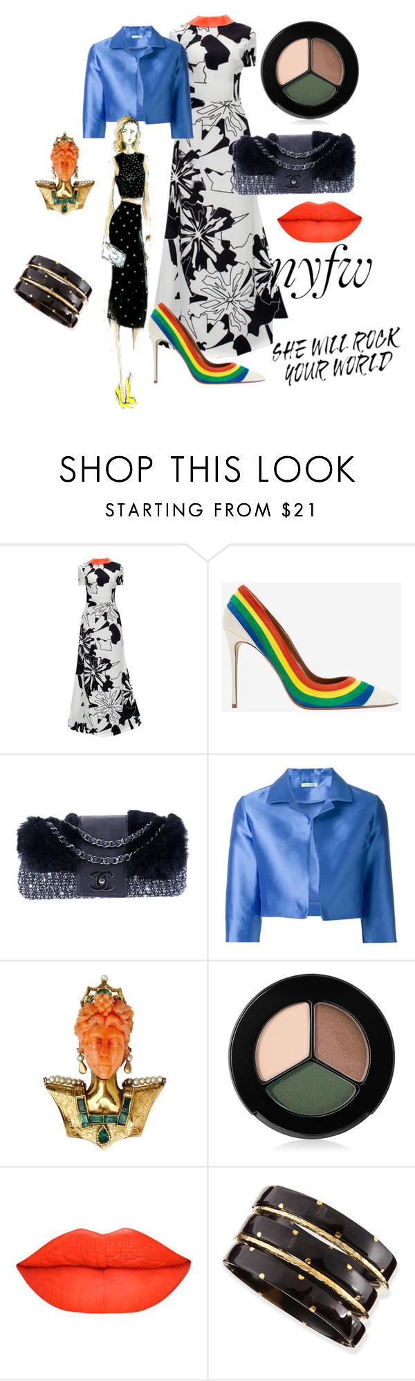 """NYFW #4"" by russetandolive ❤ liked on Polyvore featuring Lattori, Aquazzura, Chanel, P.A.R.O.S.H., Smashbox, Ashley Pittman, women's clothing, women, female and woman"