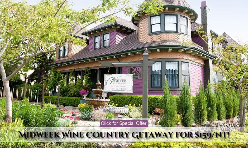 Sonoma Bed and Breakfast Vintage Towers Inn Healdsburg