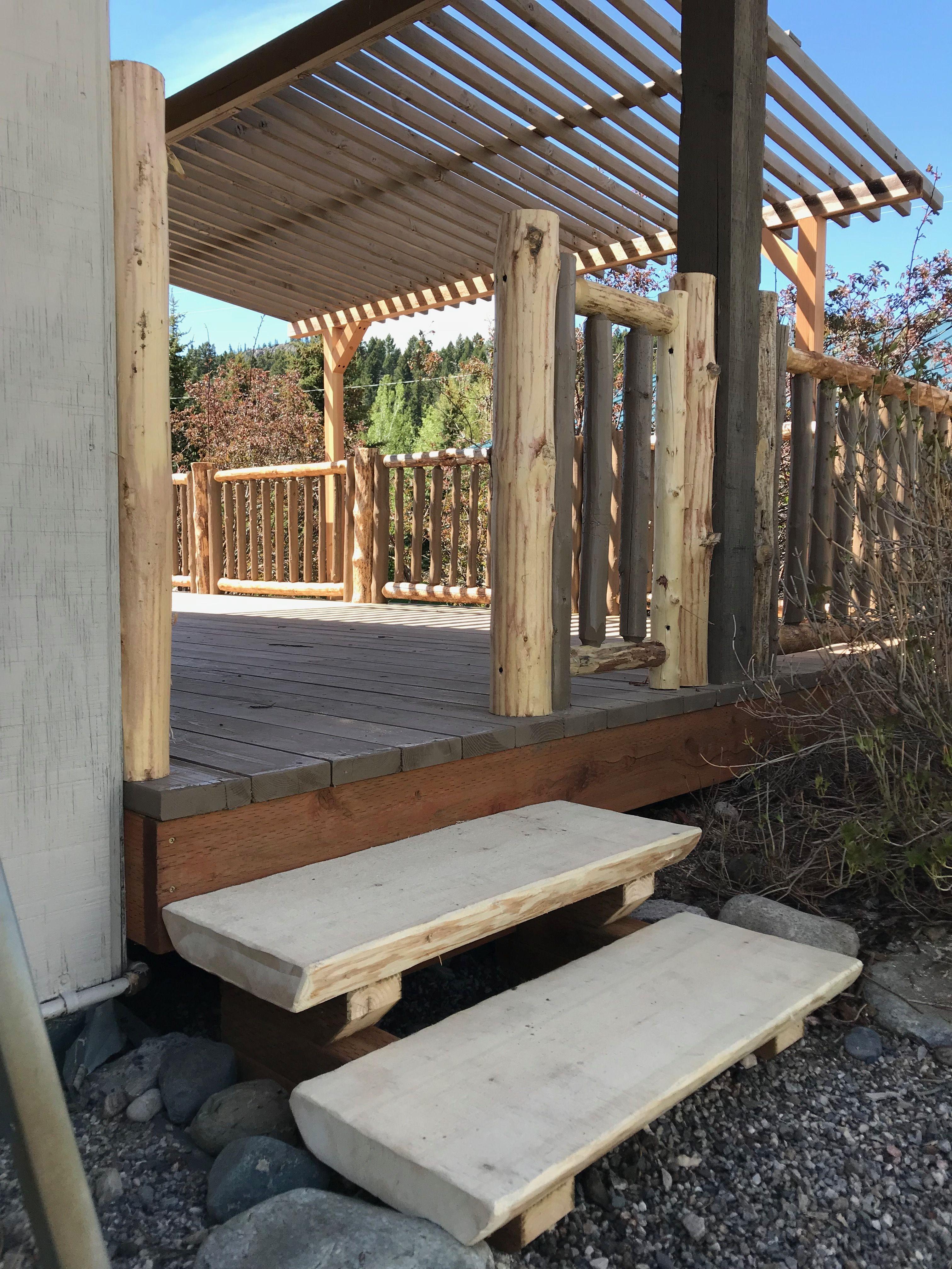 Best Live Edge Chainsaw Milled Log Slab Stairs With Unfinished Hand Peeled Log Railing Log Slab 400 x 300
