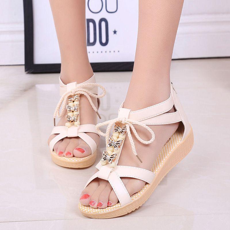 53053581a447d8 Women s Shoes Sandals · 2016 summer new European and American women flat  sandals Roman shoes comfortable low heel open toe