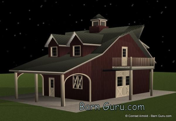 Barn Plans 2 Stall Horse Barn With Living Quarters