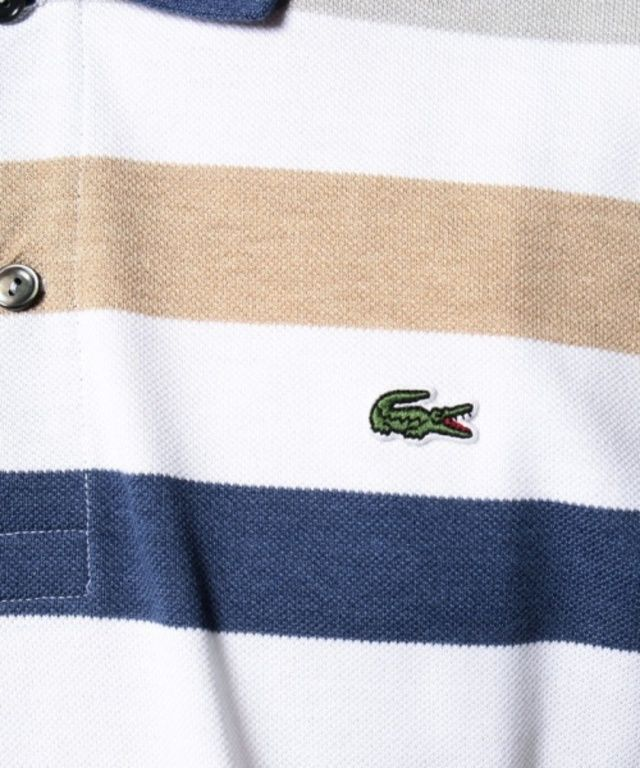 【杢糸 ボーダー ポロシャツ (半袖)】ラコステが独自開発した杢糸を使用。杢カラーで仕上げたマルチボー…
