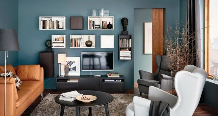 Wohnung Farbideen Moderner Blauton Im Wohnzimmer Dunkle Wande