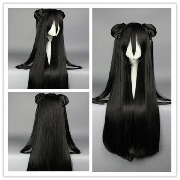85cm Synthetic Long Straight Black Anime Wig Cosplay Costume Wig With Two Ponytail Synthetic Hair Cosplay Wig Colorful Candy Colored Synthetic Hair Extension Ha Wigs Cosplay Wigs Wig Hairstyles