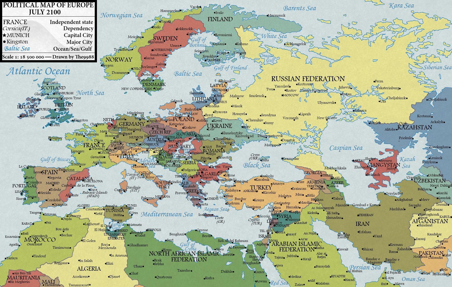 Karta Evropy 2100 Goda Glazami Slovackogo Hudozhnika Martina