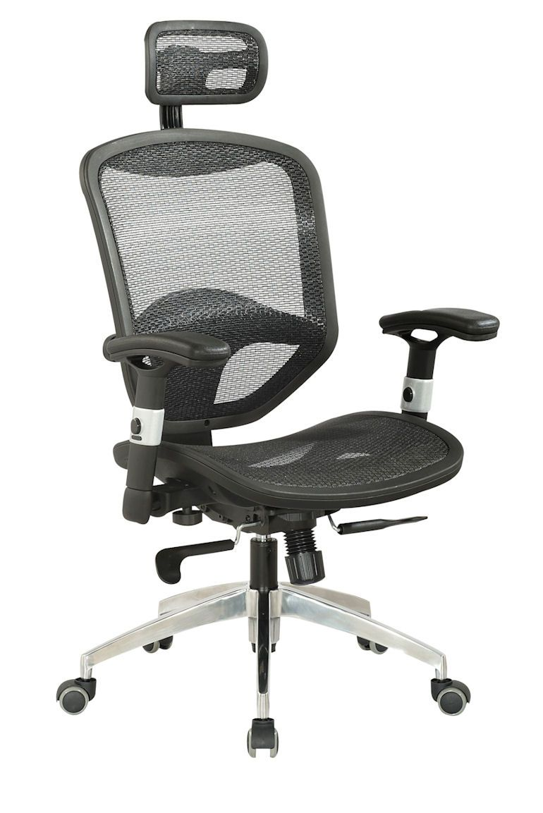 Chintaly Imports 4025 Mesh Seat And Back With Headrest Multi Adjule Pneumatic Gas Lift Office Chair Black Aluminum