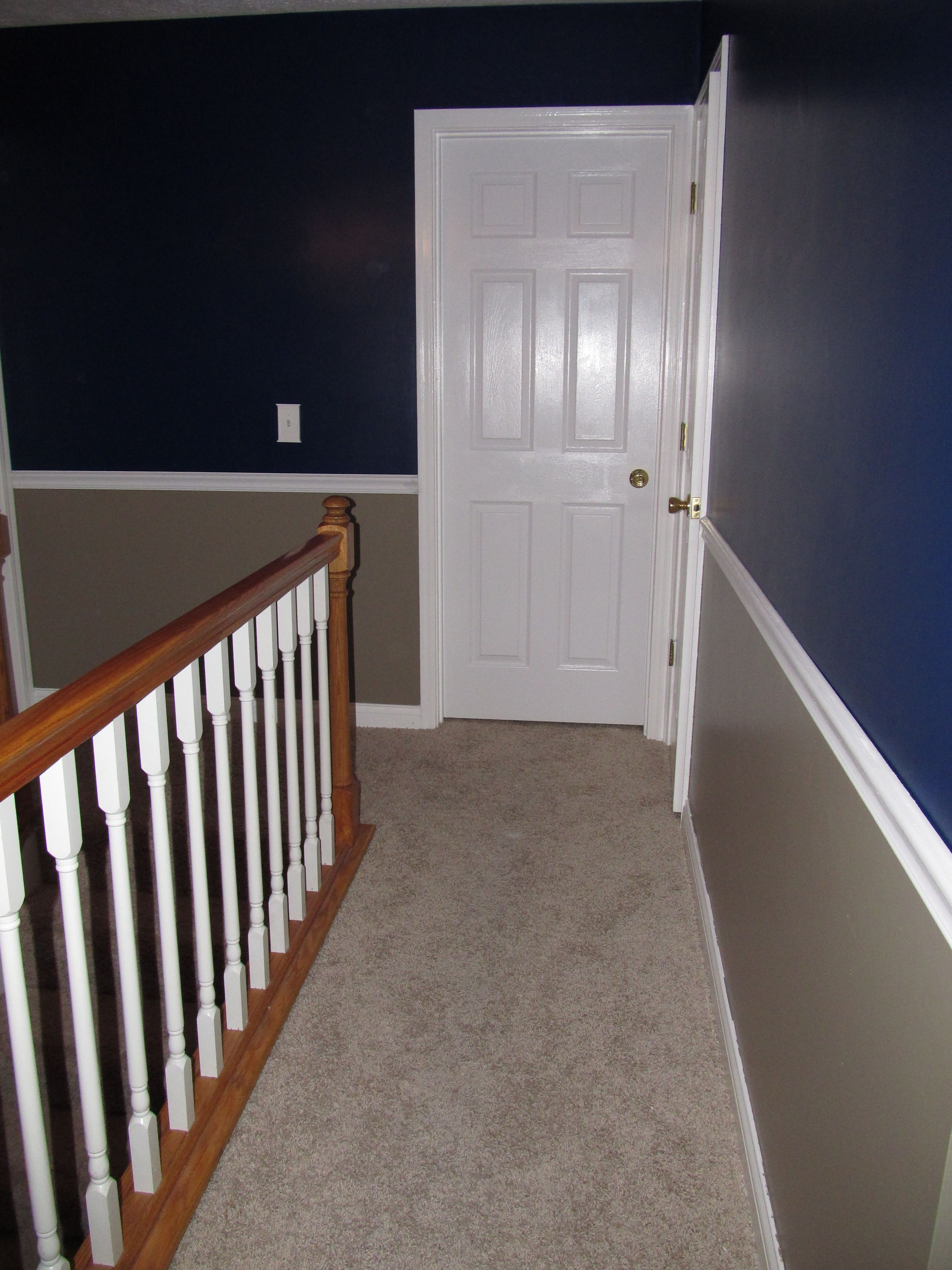 Chair Rail Up Stairs Part - 35: Remodeled Upstairs Hallway With Bold Colors And A Chair Rail.