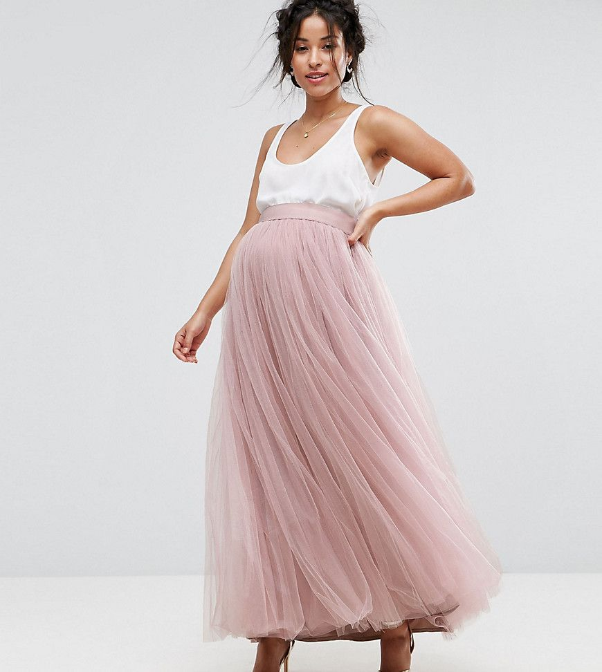 Little mistress maternity maxi tulle skirt pink prom