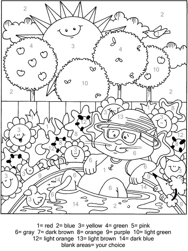 Cute Cats Color By Number 6 Sample Pages Fall Coloring Pages Coloring Pages Cute Coloring Pages