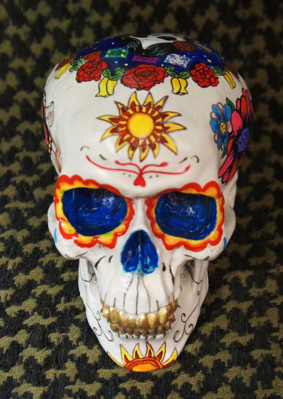 One of a Kind  Custom Painted Day of the Dead door AllSoulsCalaveras, $100.00