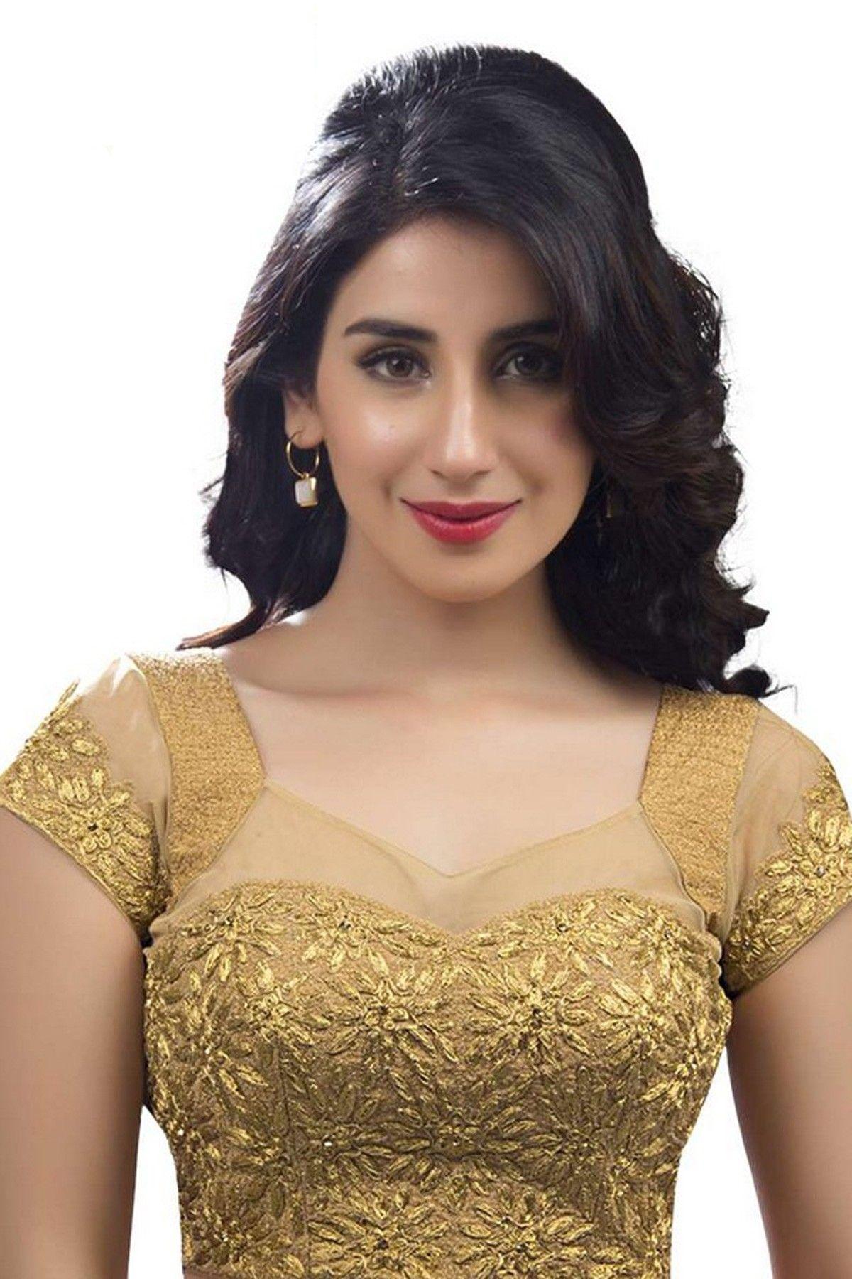 e2837aac95e72e Gold raw silk & net designer wear blouse with cap sleeves -BL555 | Bridal  blouse designers in Bangalore | #goldblouse #netblouse