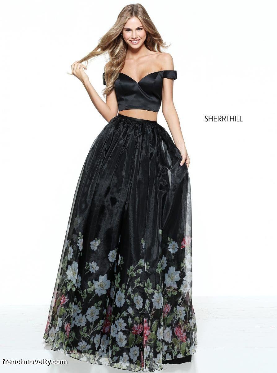 Black dress off the shoulder floral tops