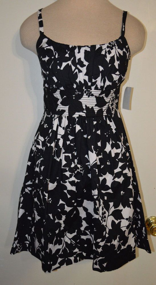 0d8dd7271f887 Women s B. Smart Black   White Floral Spaghetti Strap Dress Sizes 6 ...