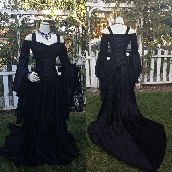 Plus Size 2 26w Gothic Lace Wedding Dress Formal Long Sleeve Lace Up Bridal Gown Lace Wedding Dress Vintage Gothic Wedding Dress Black Wedding Dress Gothic