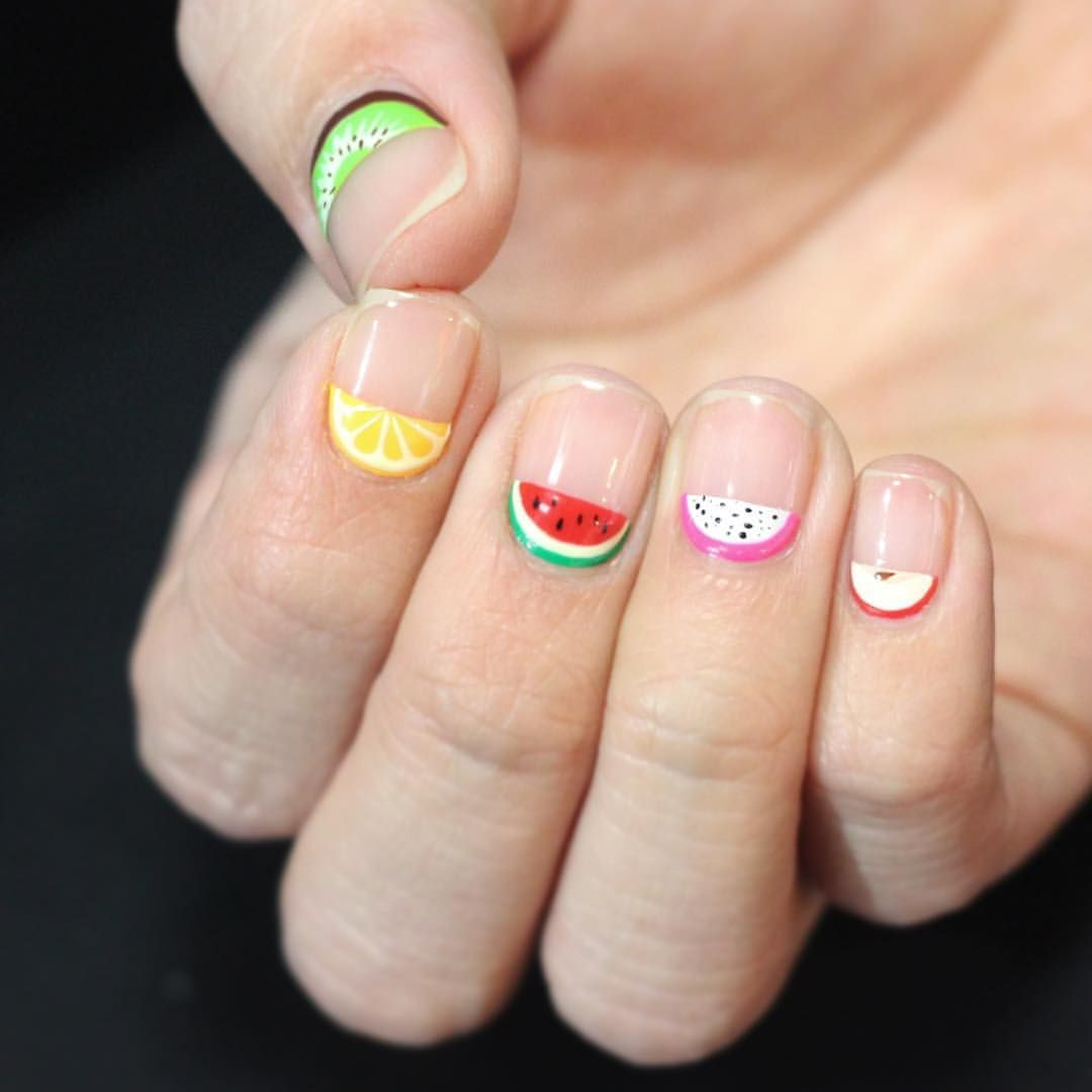 Cute fruit cuticle nail design #과일사탕 #큐티클아트 #cuticlenails ...