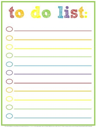 Free Printable To Do Lists Cute Colorful Templates To Do