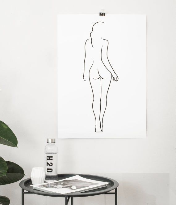 Female Figure Drawing PRINTABLE, Line art, Female body, Woman body outline, Woman from behind, Sketch wall art, Female nudity poster