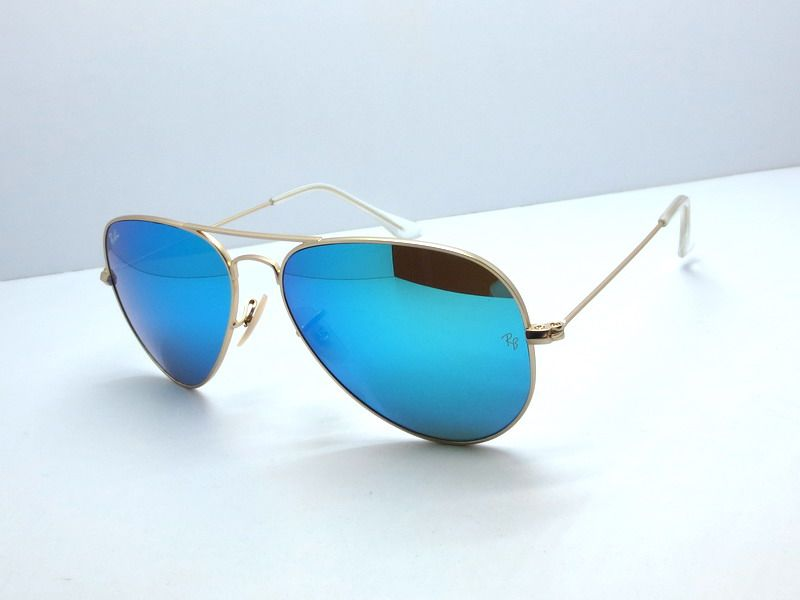 ray ban aviator black frame blue lens  Ray Ban RB3025 Aviator Large Metal Arista Blue Mirror Sunglasses ...