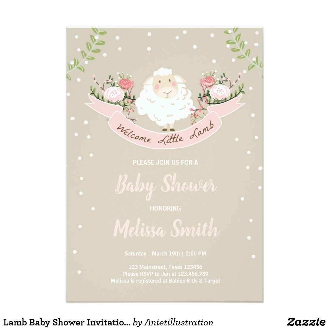 Lamb Baby Shower Invitation Girl Pink Spring | Babies