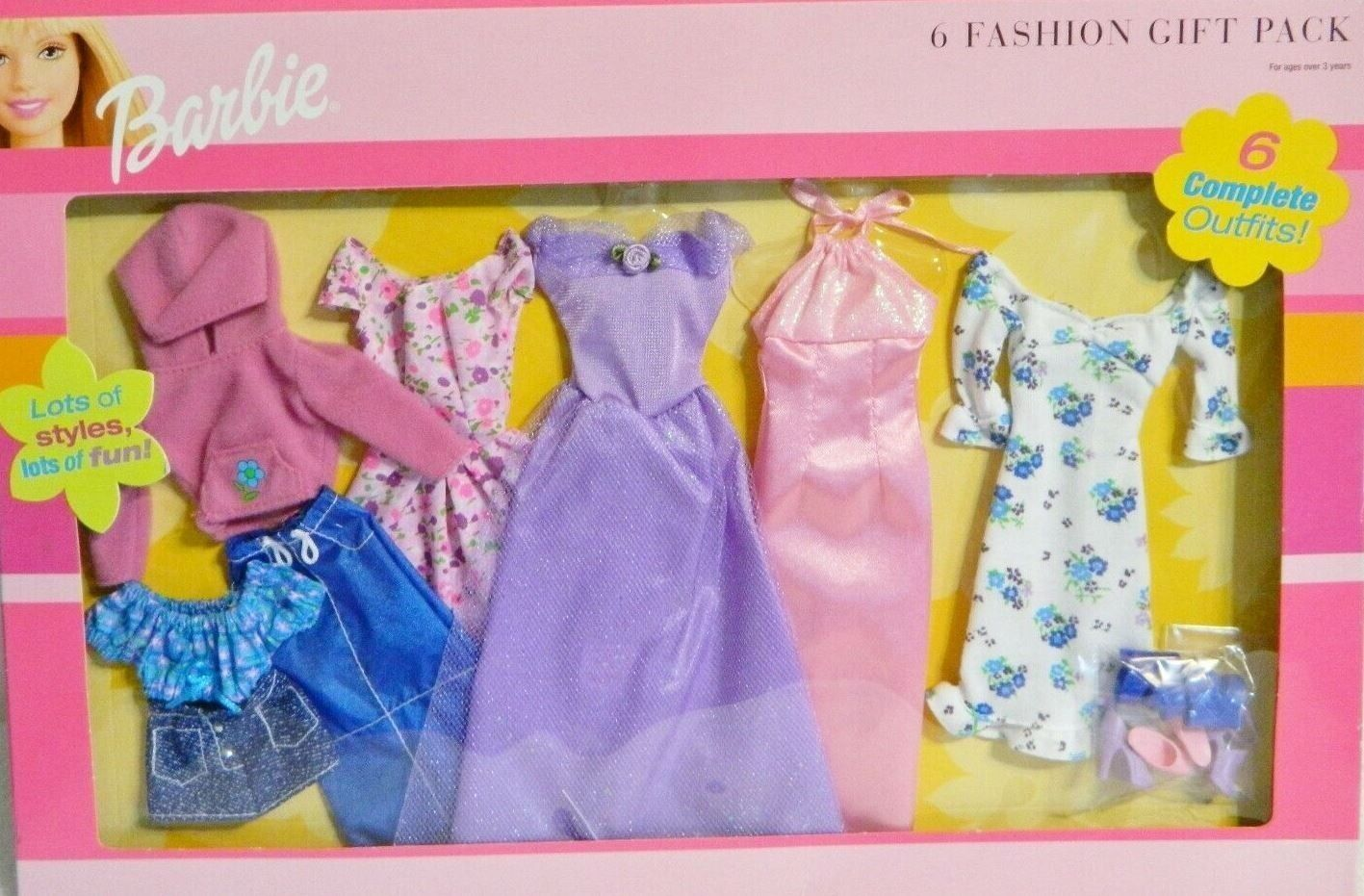 ✿ ܓ Barbie Doll Clothes 6 Fashions Gift Pack Striped Pink Pants ✿ ܓ