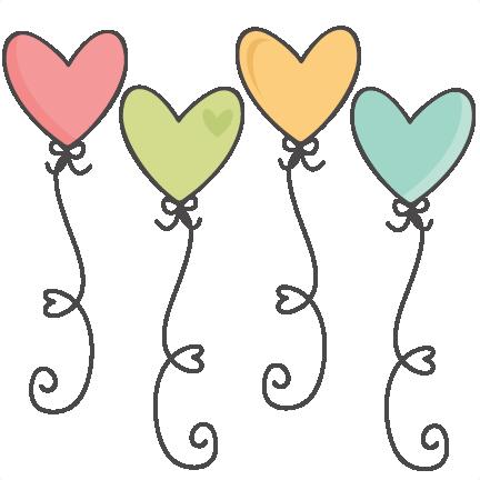Balloons cute. Heart svg scrapbook cut