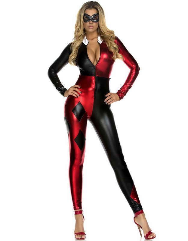 Adult Ladies Harlequin Jester Metallic Leggings Halloween Harley Cosplay DC
