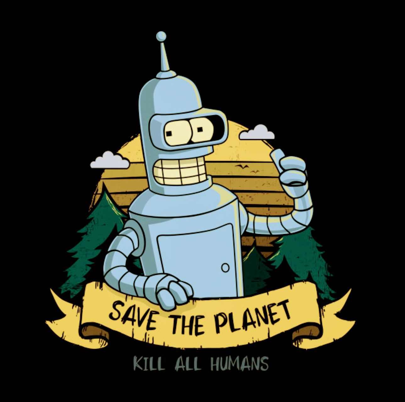 Bender - Save The Planet Kill All Humans, Futurama | Futurama robot,  Futurama tattoo, Futurama characters