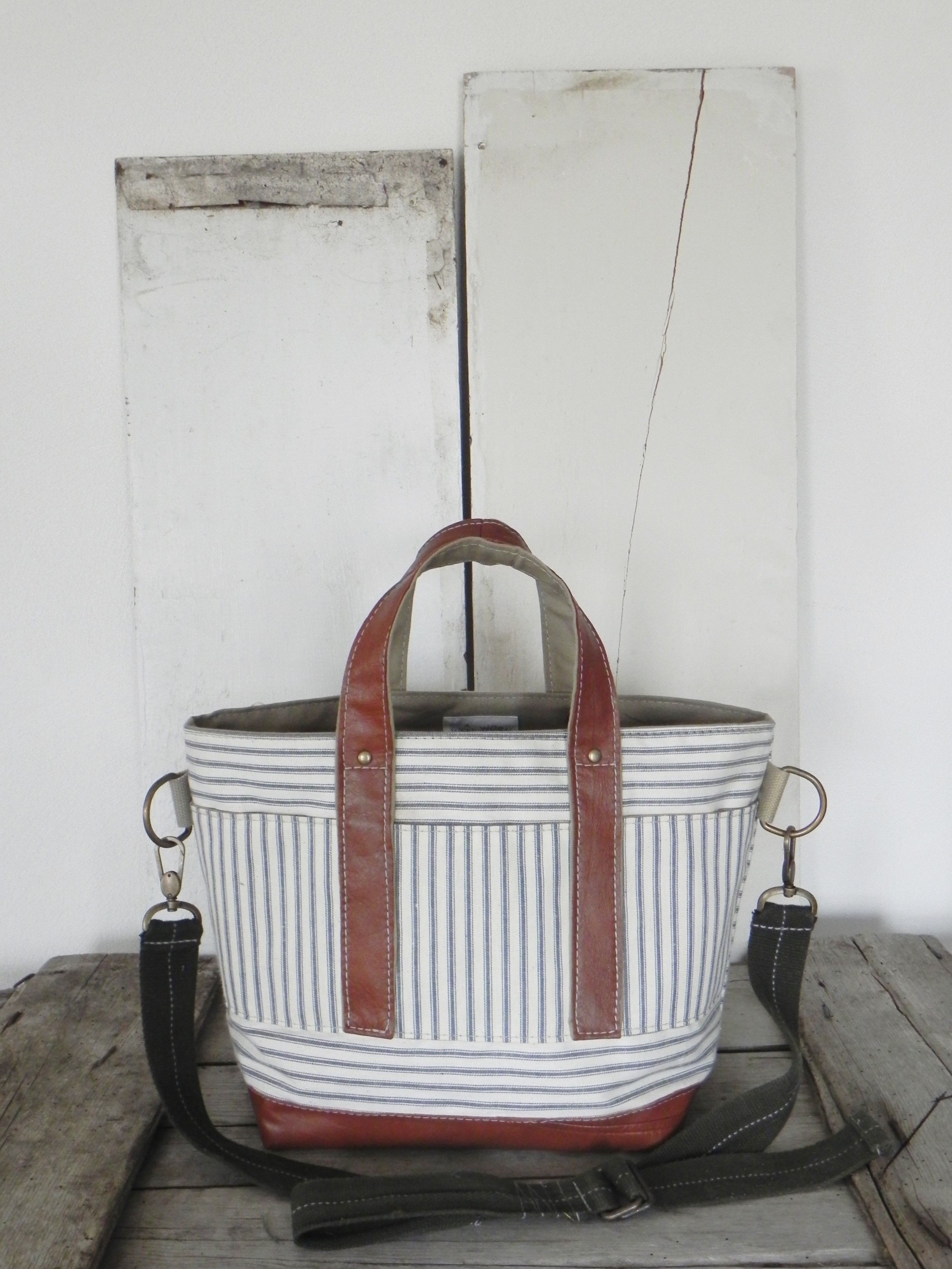 9a7b4a25b Tote bag made from 1950's era ticking fabric, a reclaimed leather jacket,  and an upcycled belt, A Well Worn Story