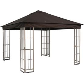 Garden Treasures 10 Ft X 10 Ft X 9 Ft Polyester Roof Beige Steel Square Gazebo Gazebo Replacement Canopy Replacement Canopy Pergola Canopy