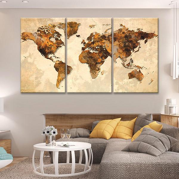 Rustic Canvas Wall Art.Rustic World Map Multi Panel Canvas Wall Art In 2019