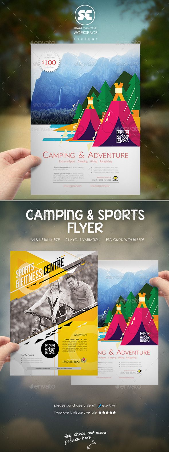 Creative Camping And Sports Flyer  Flyer Template Logos And Font