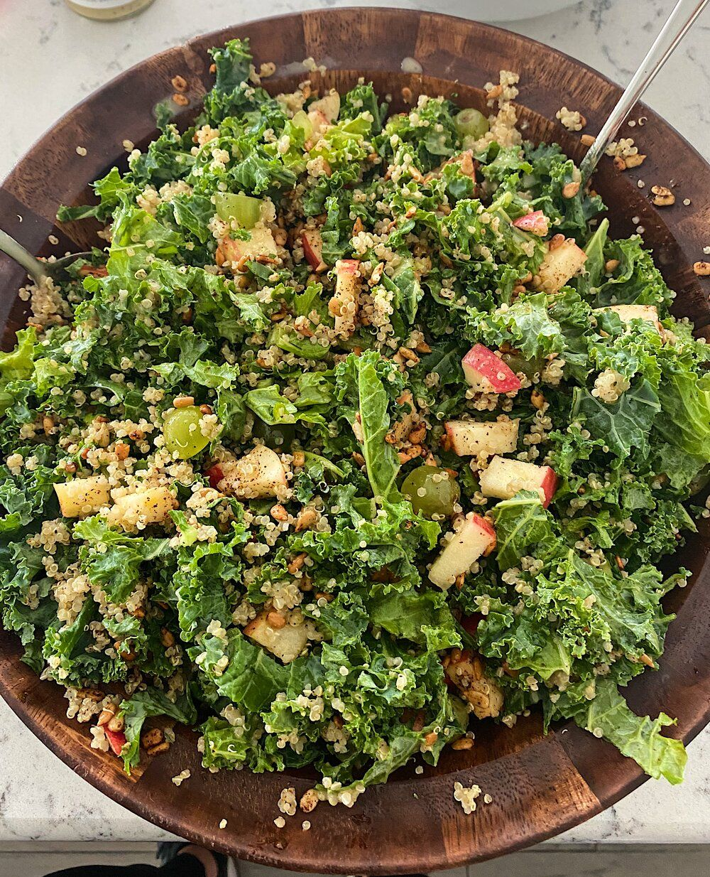 Kale and quinoa salad with spicy sunflower seeds kale