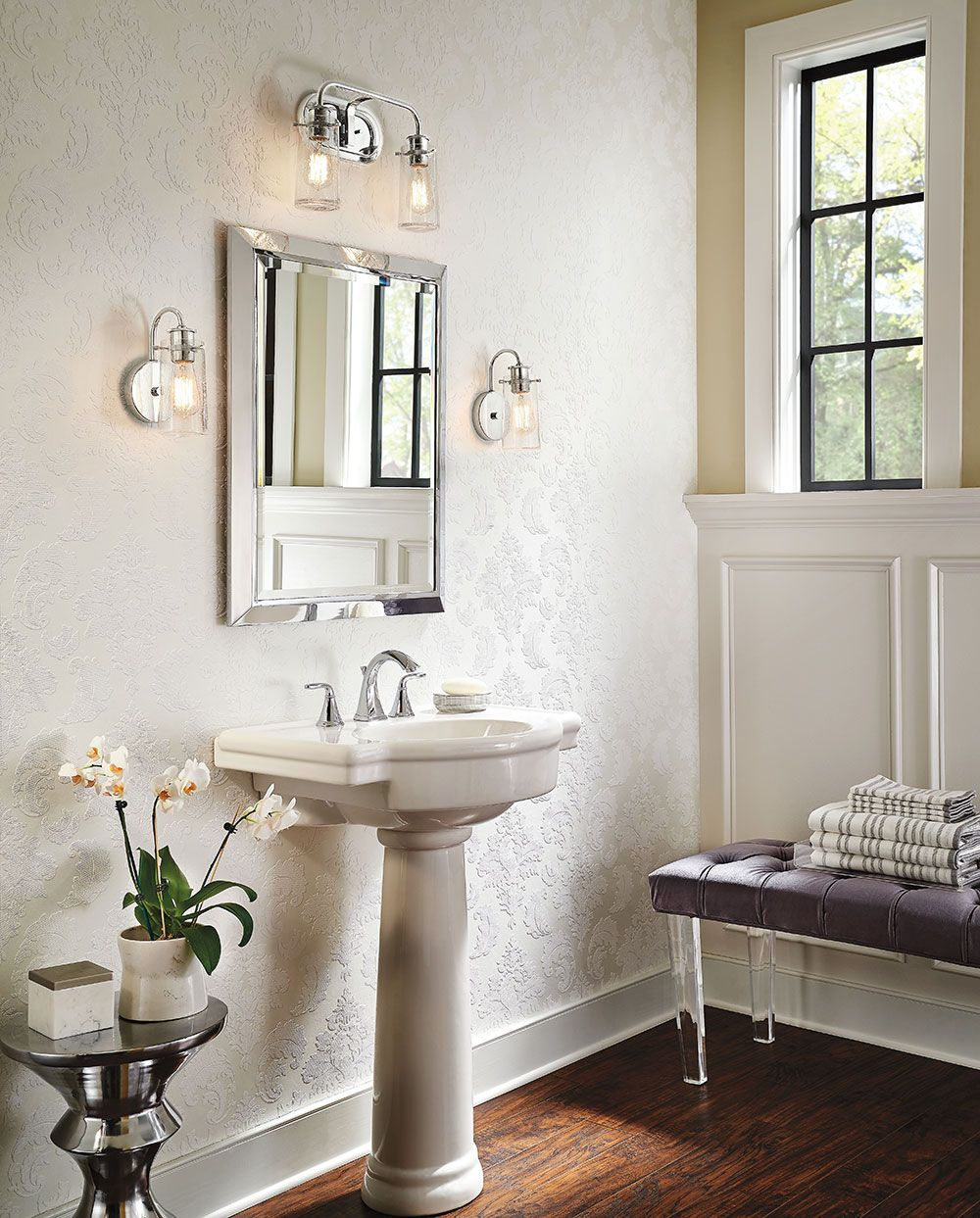 There 39 s so much to love about the reclaimed style of the braelyn wall sconce by kichlerstyle Bathroom sconce lighting ideas