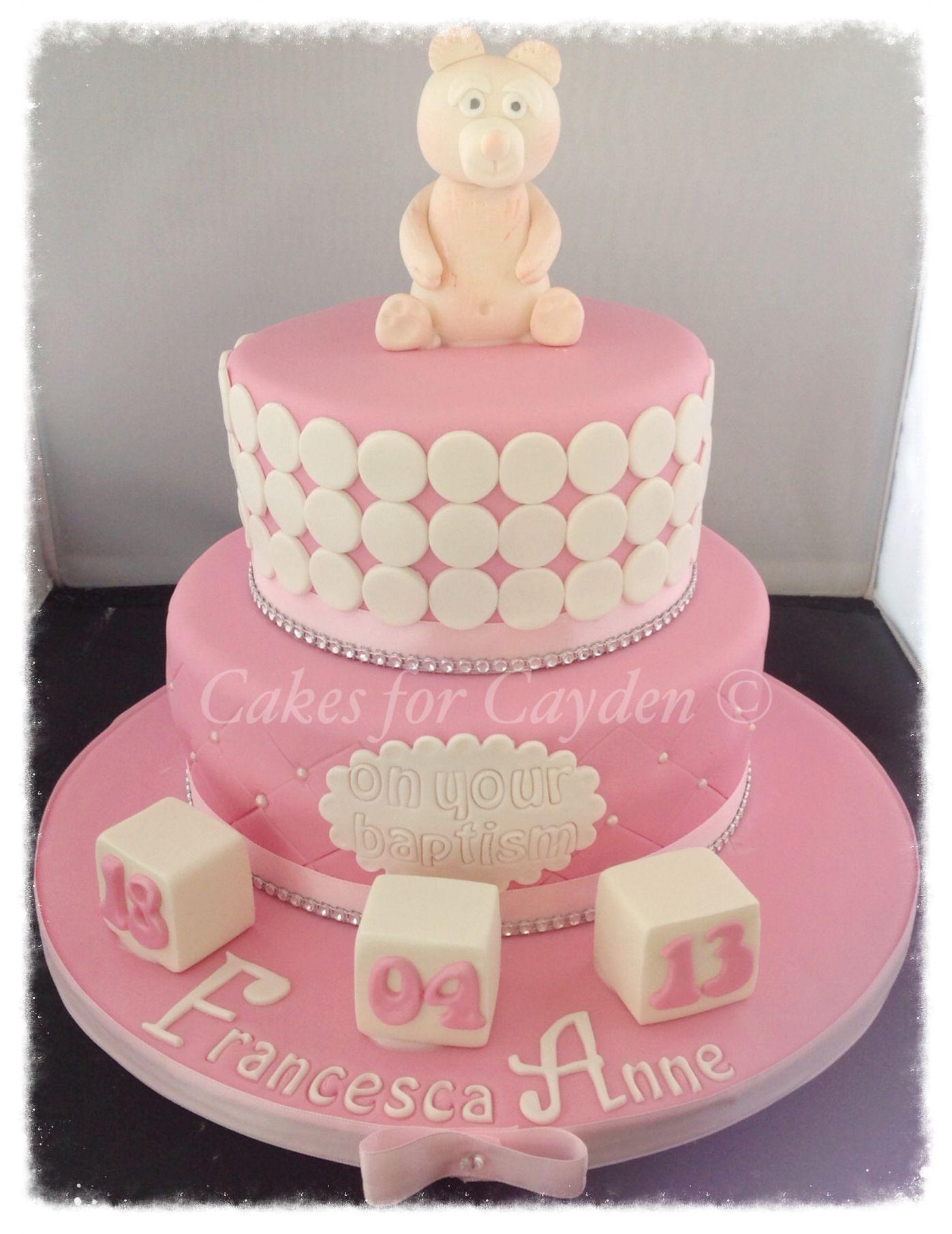 2 tier pink white girls christening cake   Cakes   Pinterest ...