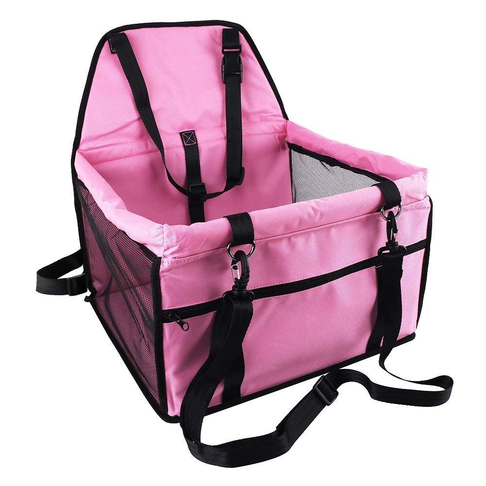 Pet Booster Seat For Dog Portable And Breathable Bag With Seat Belt Dog Carrier Safety Stable For Travel With Clip On Leash And Storage Package