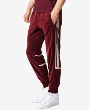 adidas Men's Originals Challenger Velour Track Pants Red