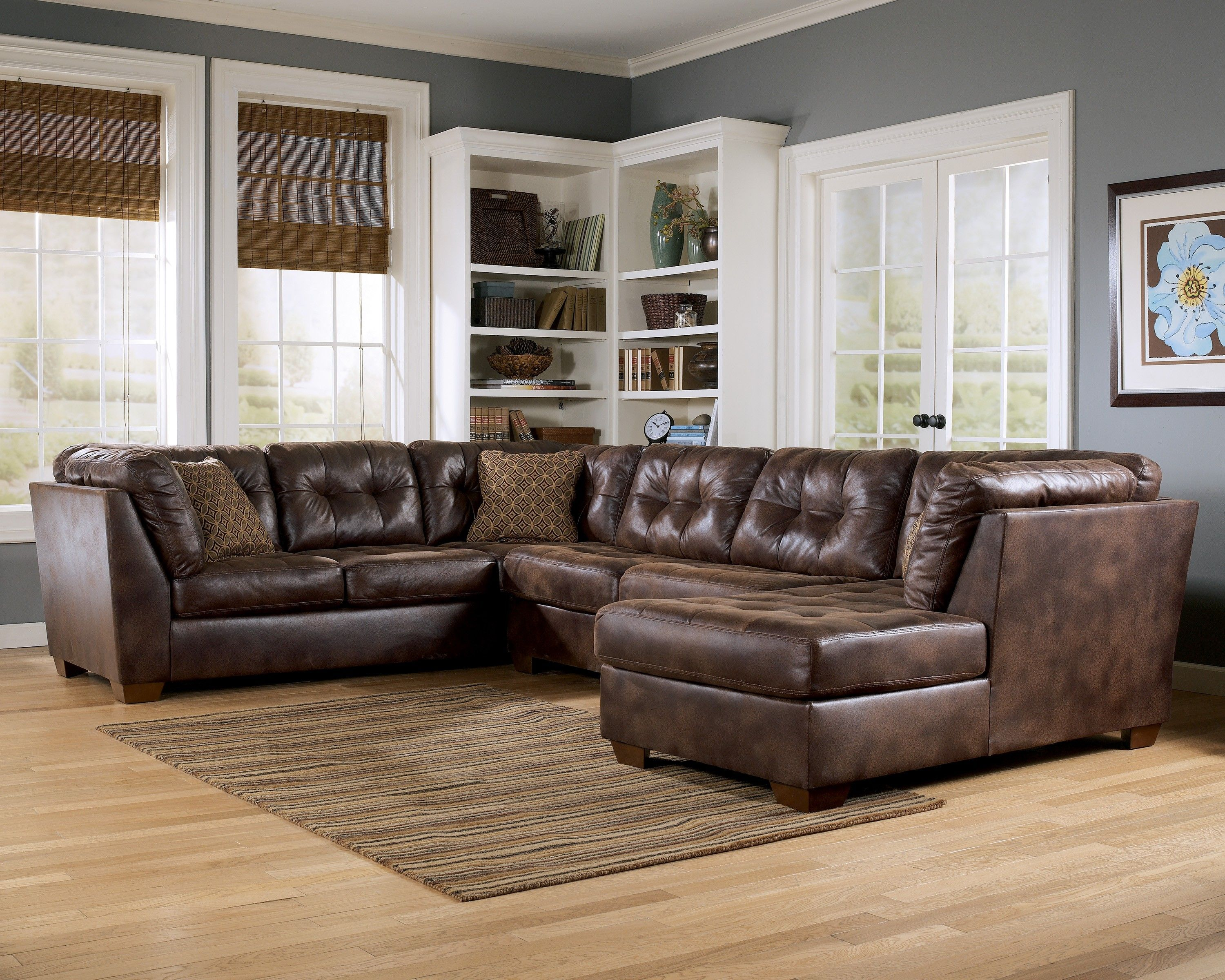 Attractive Furniture,Affordable Brown Leather Cheap Living Room Sectionals Sofa With  Brown Striped Rug,Beautiful