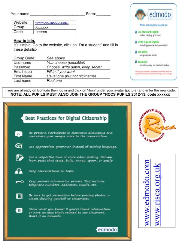 A simple template for signing pupils up to Edmodo. | The Classroom ...