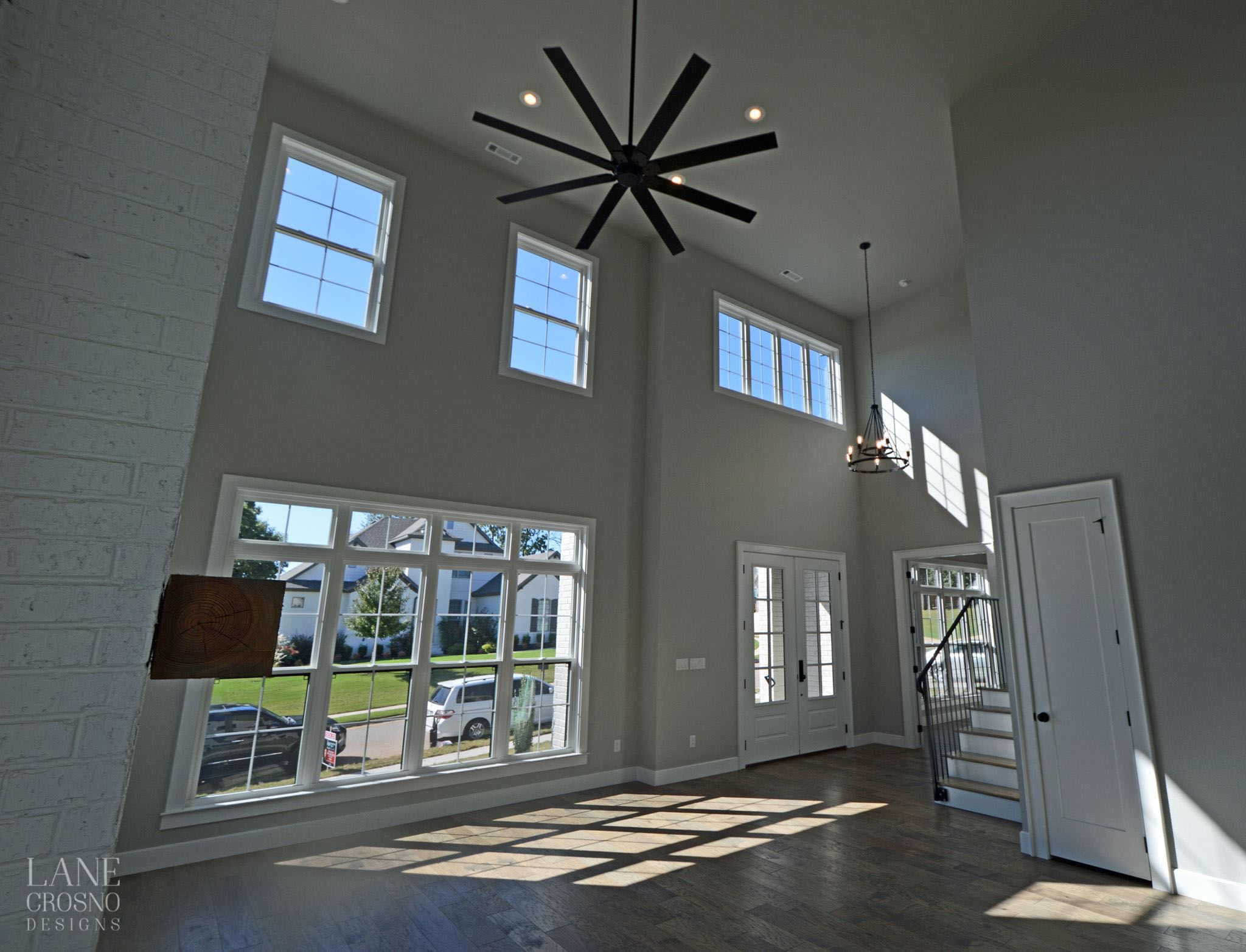 contemporary living room tall ceilings