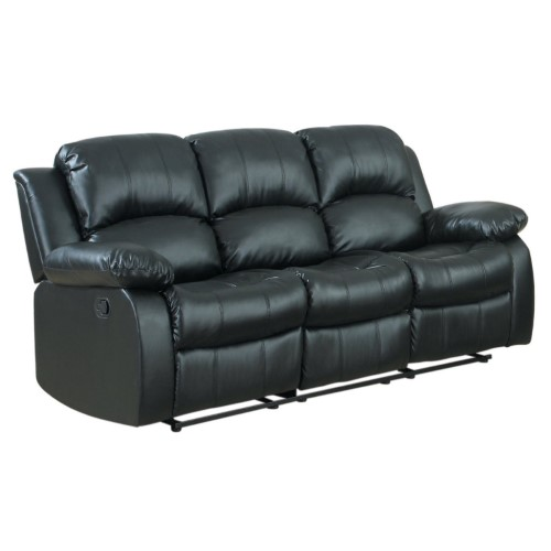 Beau Classic Oversize And Overstuffed 3 Seat Bonded Leather Double Recliner Sofa,  Black