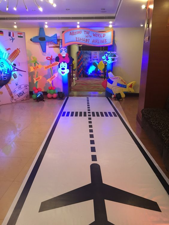 photo of vinyl airplane runway for party entrance around the world