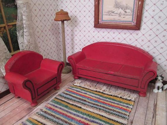 Schoenhut Dollhouse Furniture Red Living Room Pieces 1933 | The Toy
