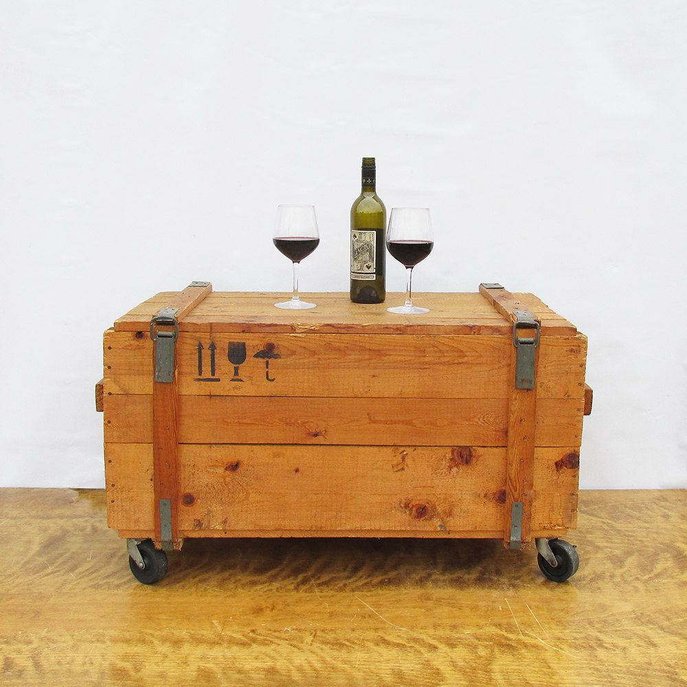 Former soviet army wooden crate industrial box upcycled rolling former soviet army wooden crate industrial box upcycled rolling storage coffee table geotapseo Gallery