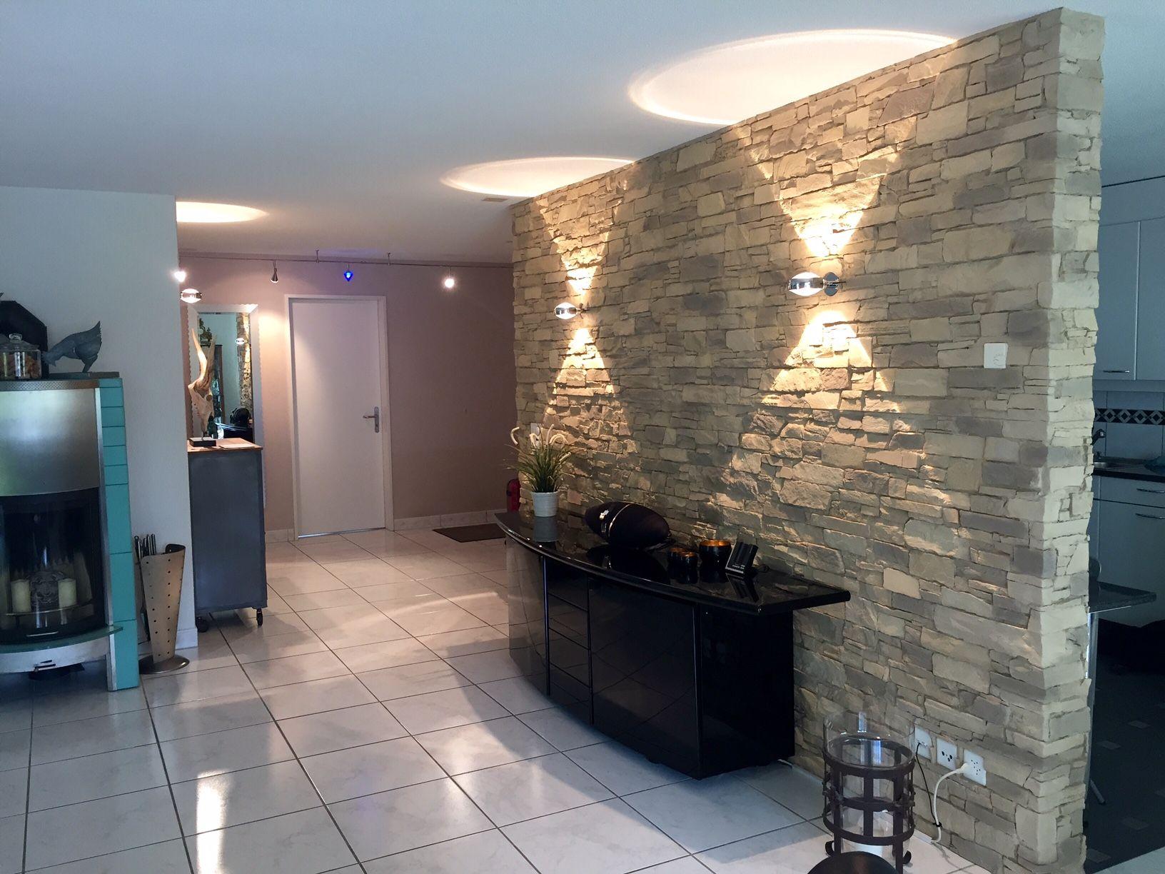 Steinwand Wohnzimmer Navarrete  Wandgestaltung Wohnzimmer