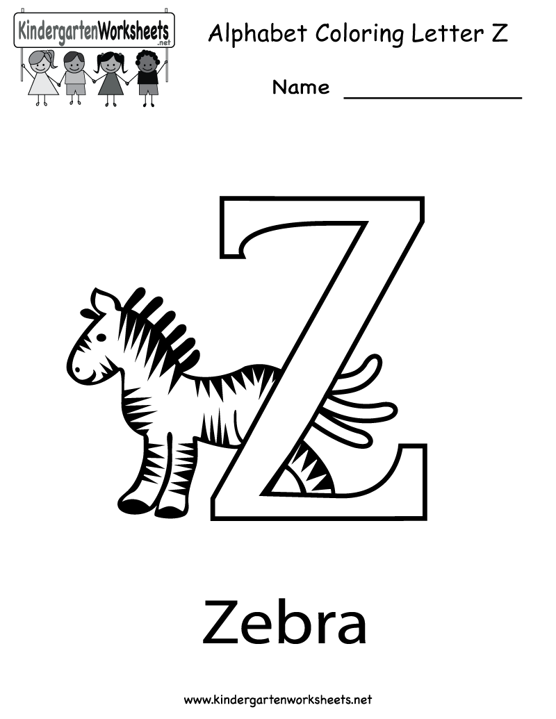 Letter Z Coloring Worksheet - Free Kindergarten English Worksheet ...