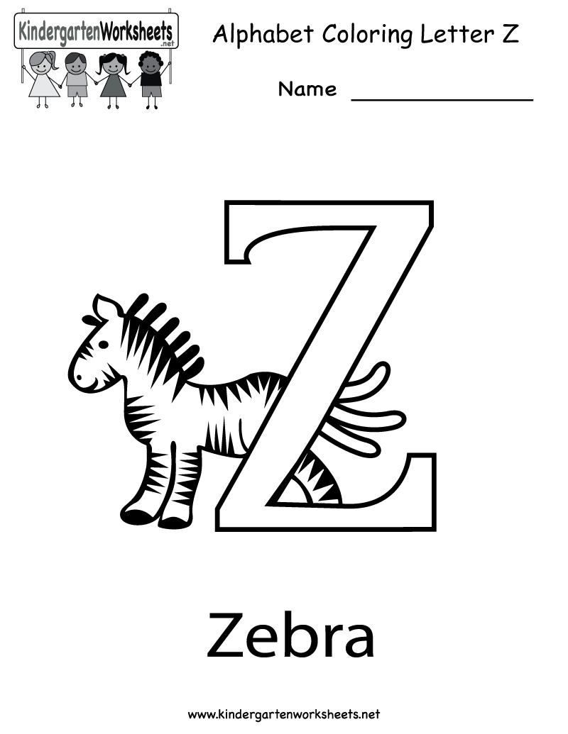 Kindergarten Letter Z Coloring Worksheet Printable